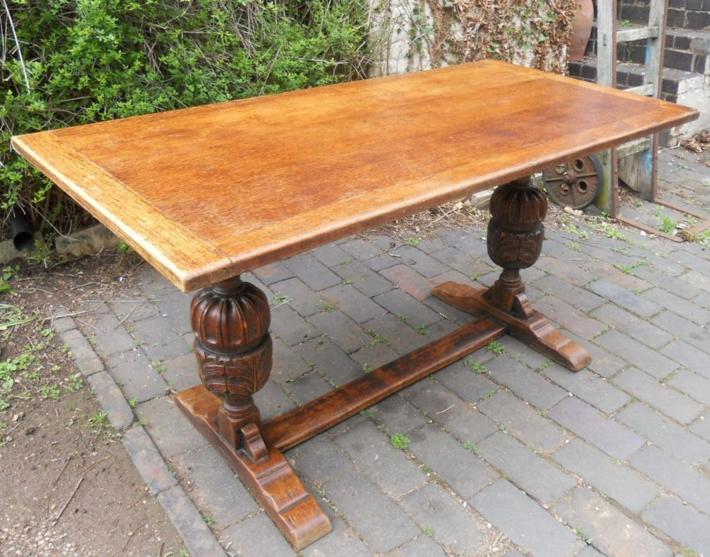 Oak Carved Base Refectory Dining Table